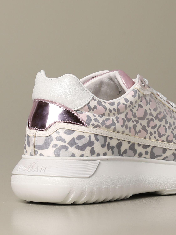 Sneakers H371 Interactive3 Hogan in pelle stampa leopardata rosa 3