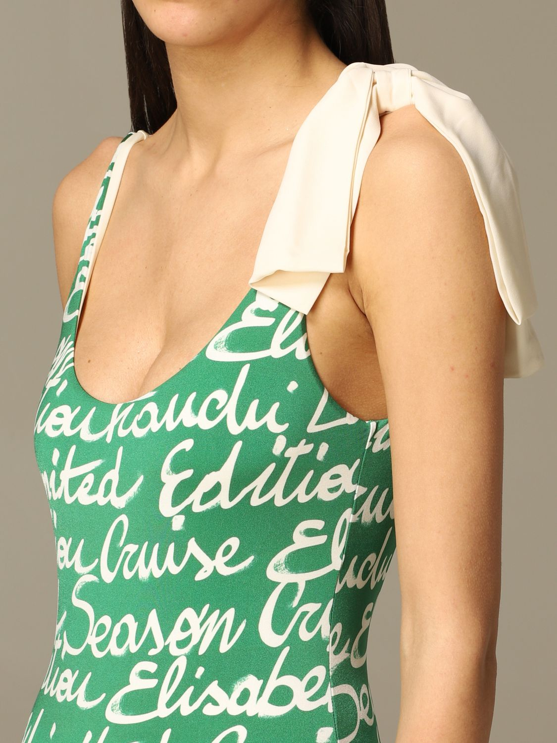 Elisabetta Franchi one-piece swimsuit with all-over logo green 3