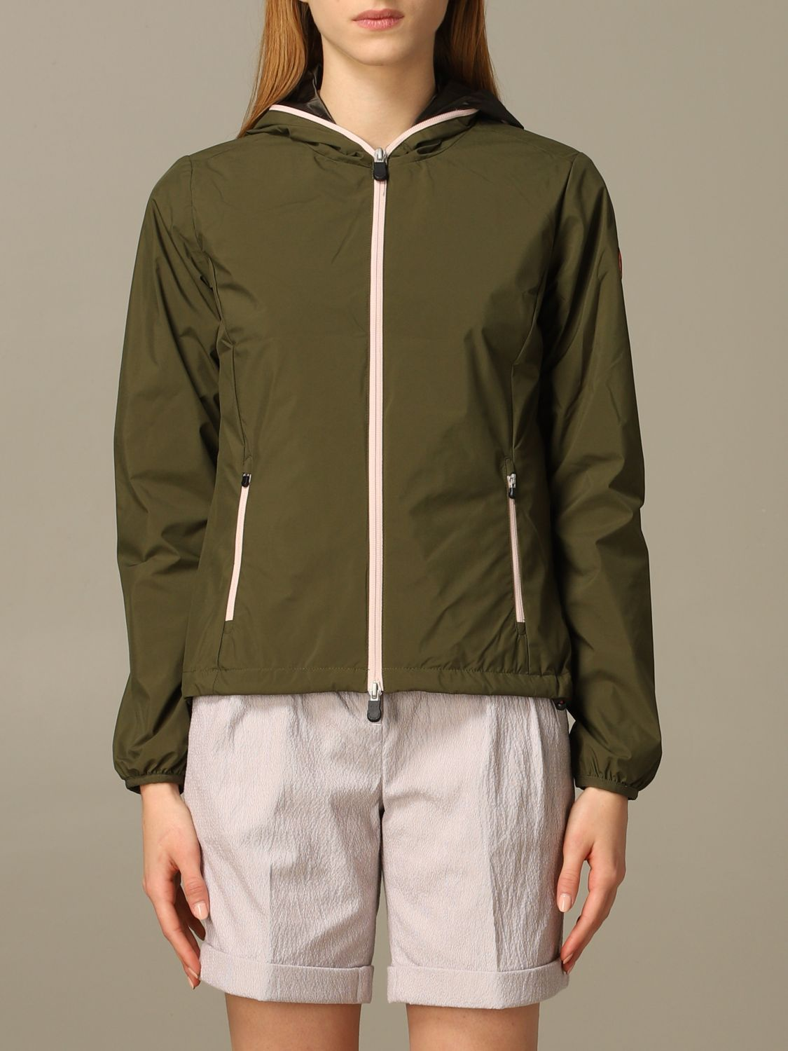 Save The Duck jacket with hood and zip green 1