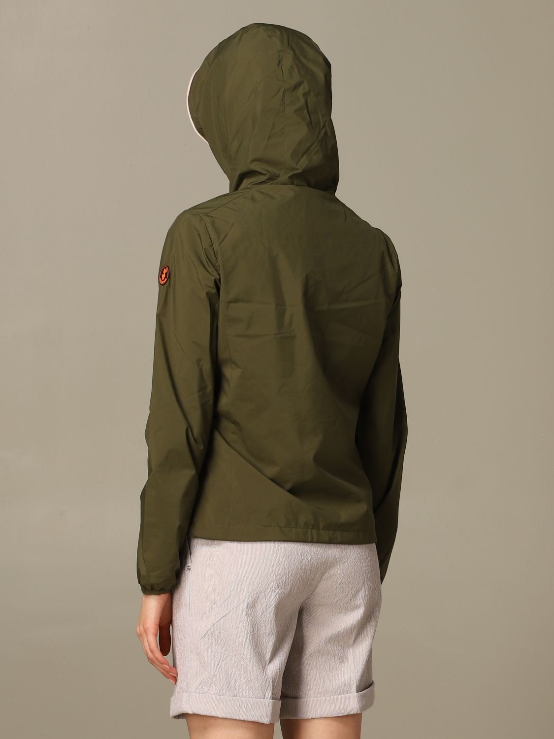 Save The Duck jacket with hood and zip green 2
