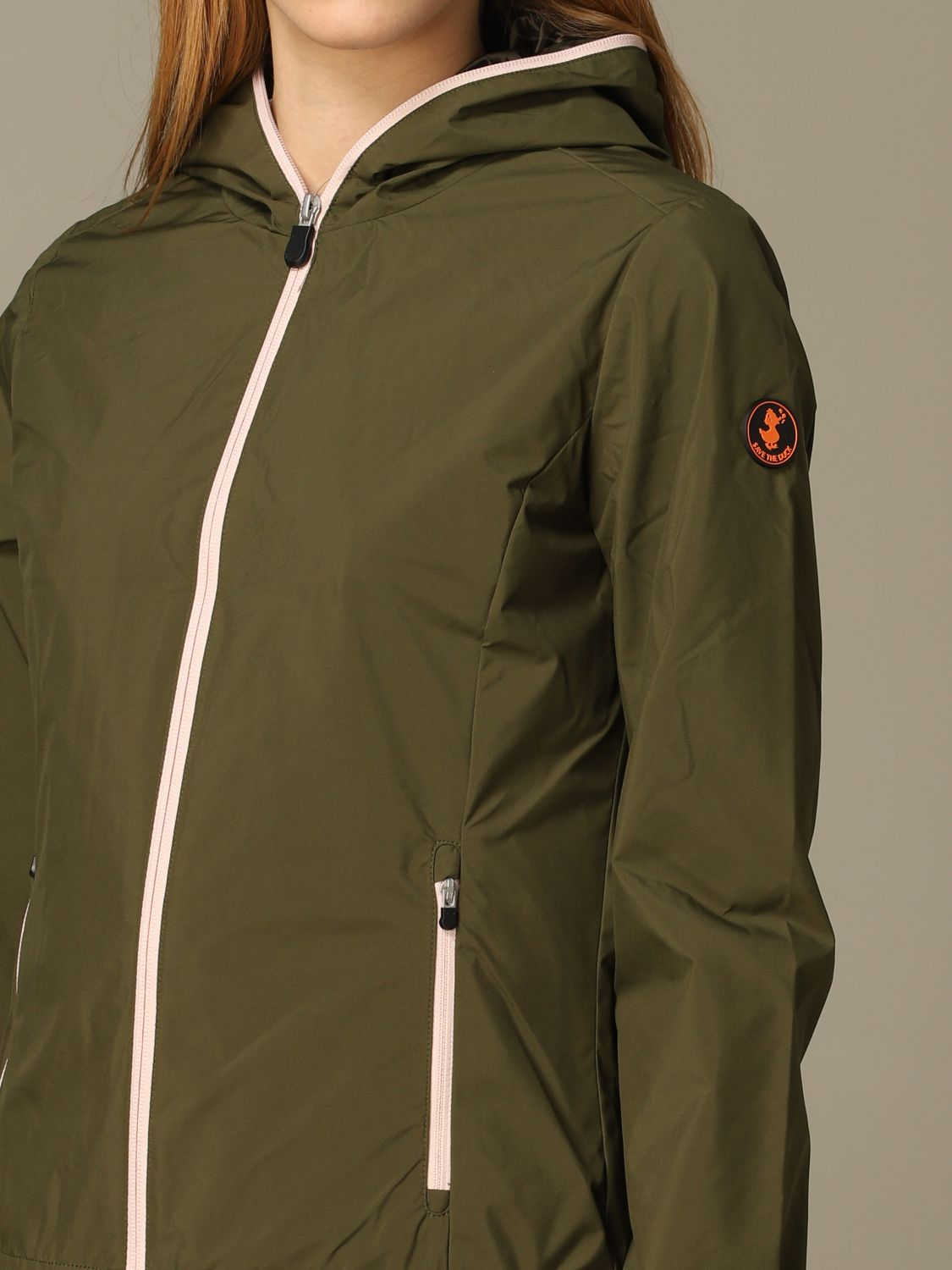 Save The Duck jacket with hood and zip green 3