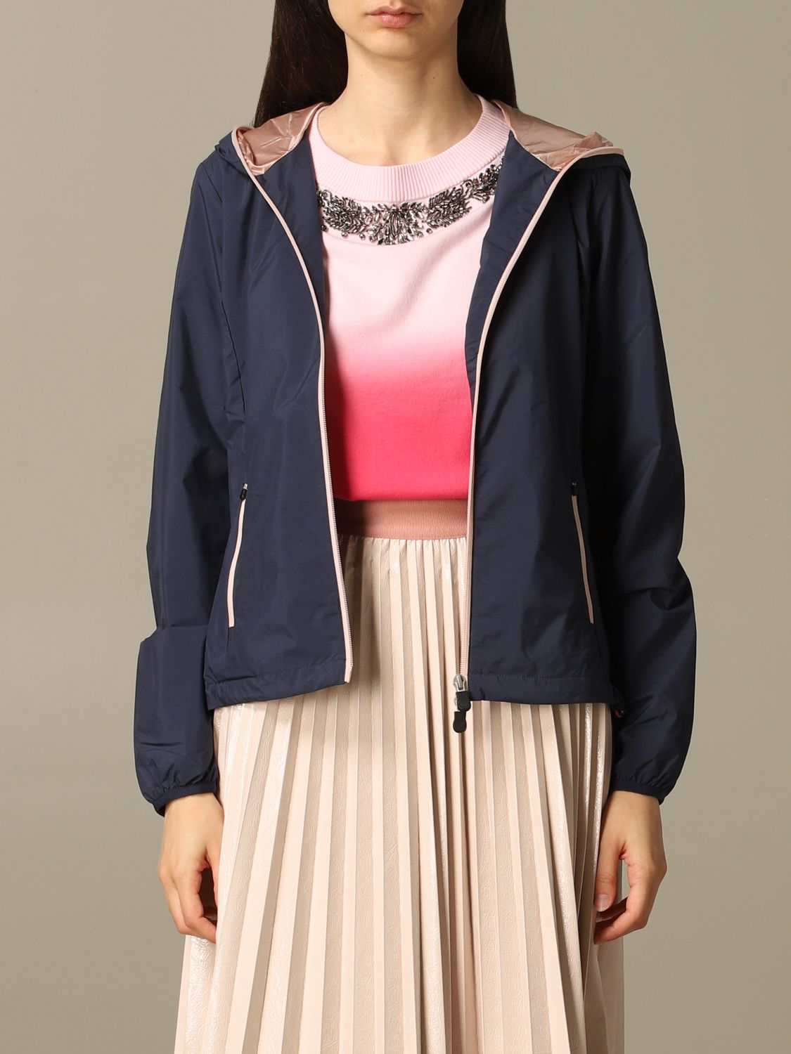 Save The Duck jacket with hood and zip navy 1