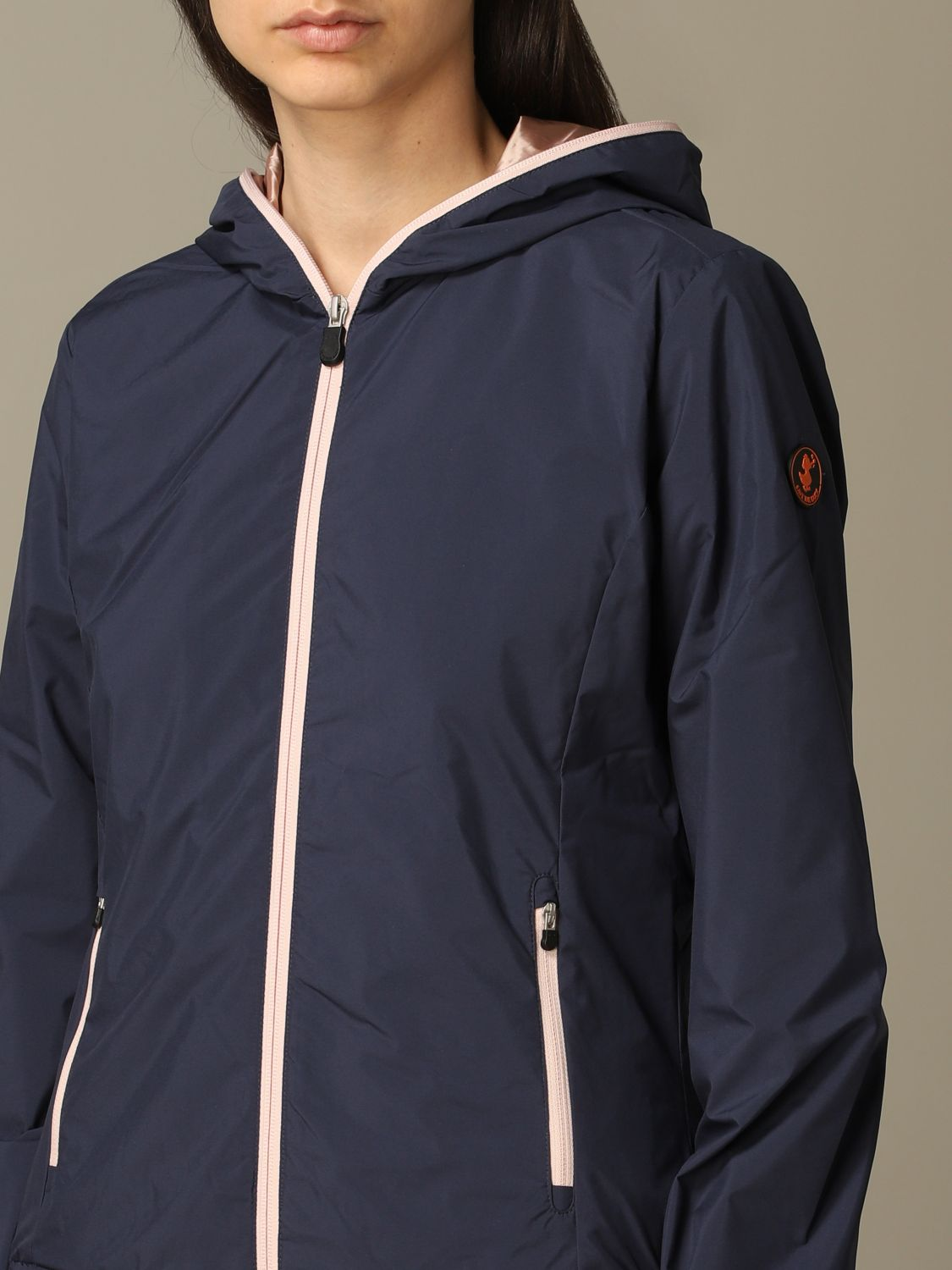 Save The Duck jacket with hood and zip navy 3