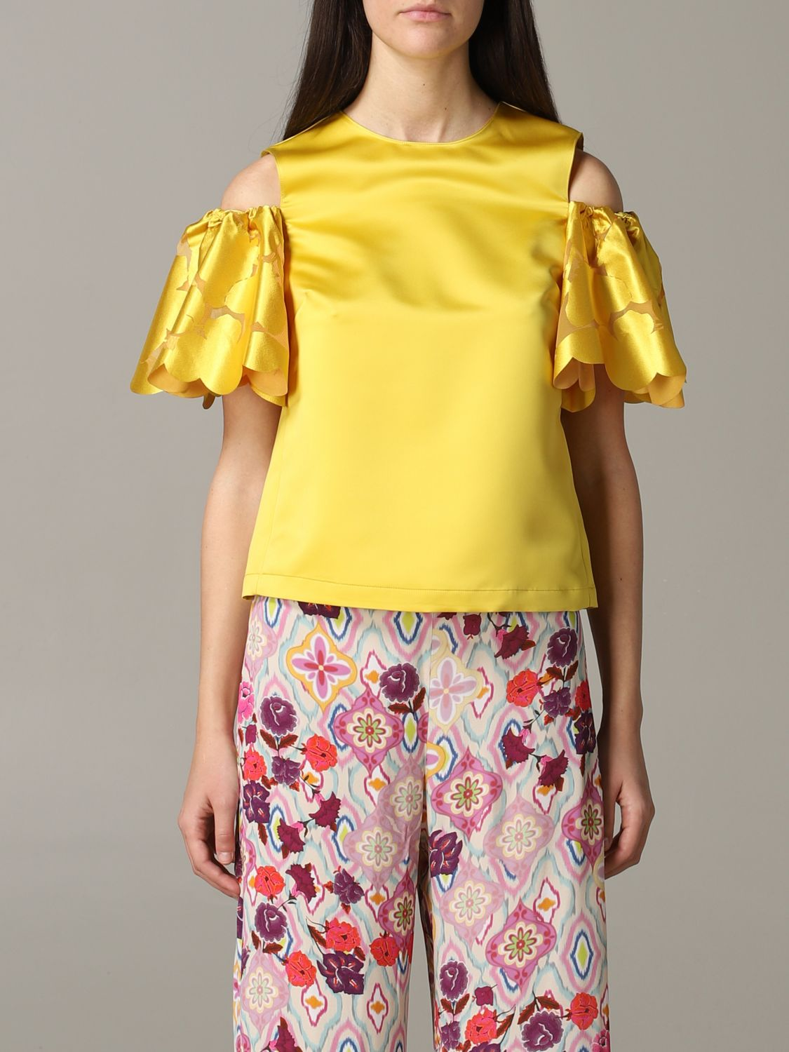Pinko top with floral sleeves yellow 1