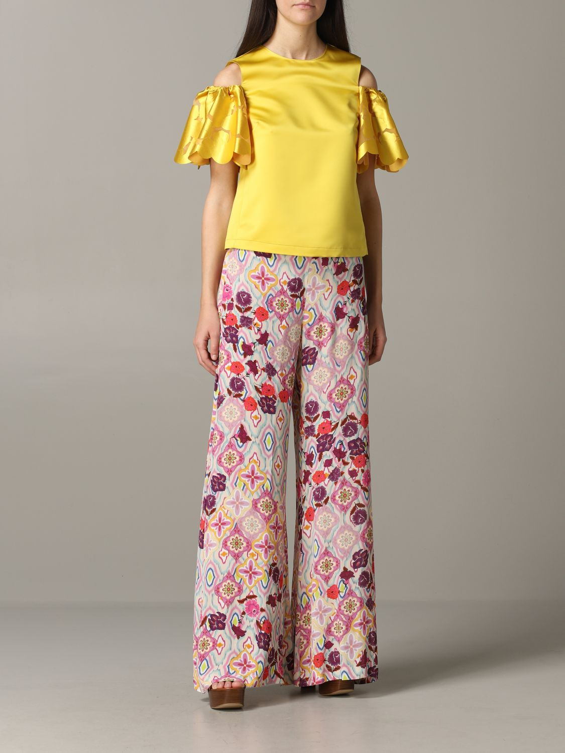Pinko top with floral sleeves yellow 2