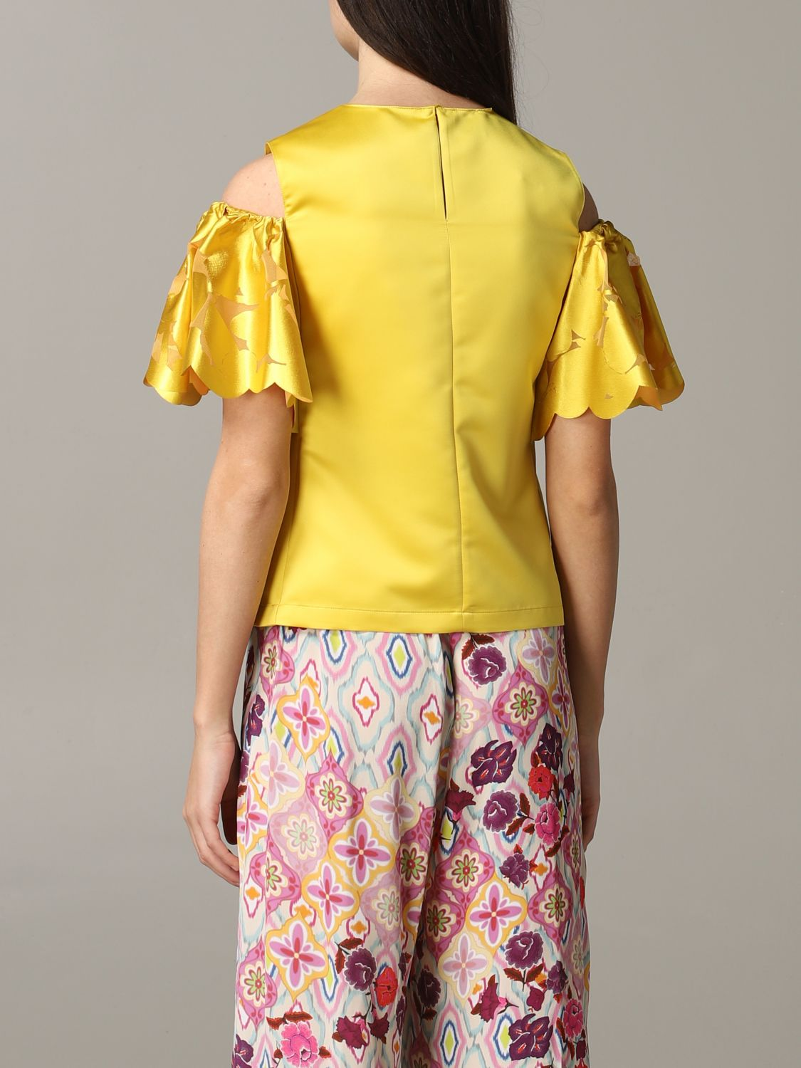 Pinko top with floral sleeves yellow 3