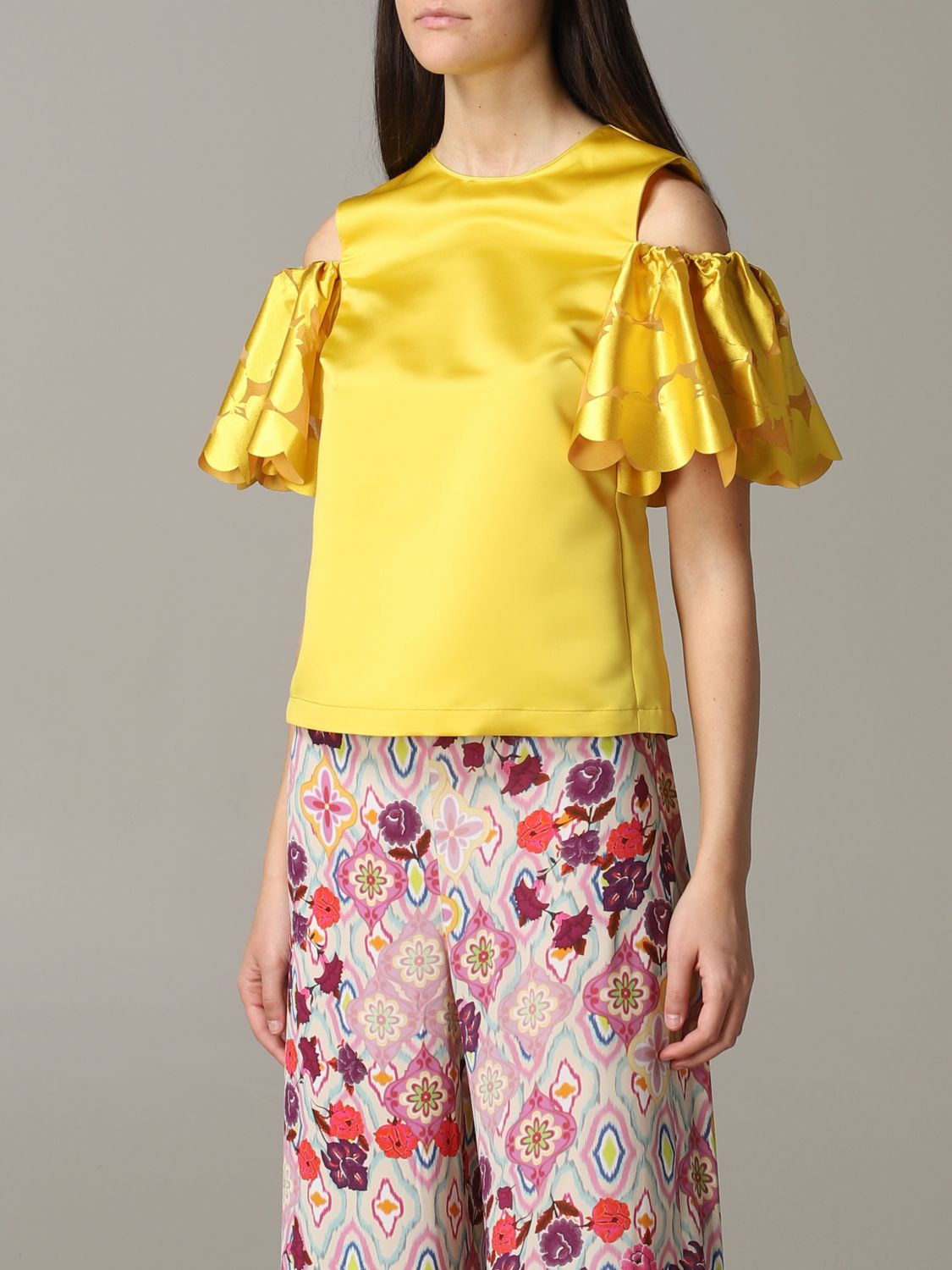 Pinko top with floral sleeves yellow 4