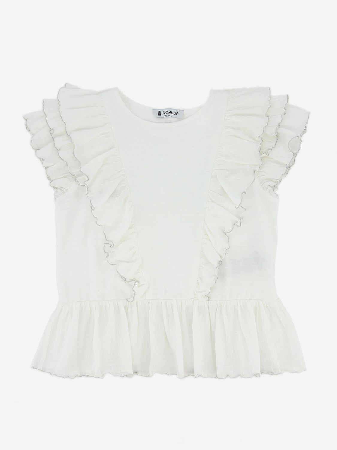 T-shirt Dondup: Top Dondup con rouches bianco 1