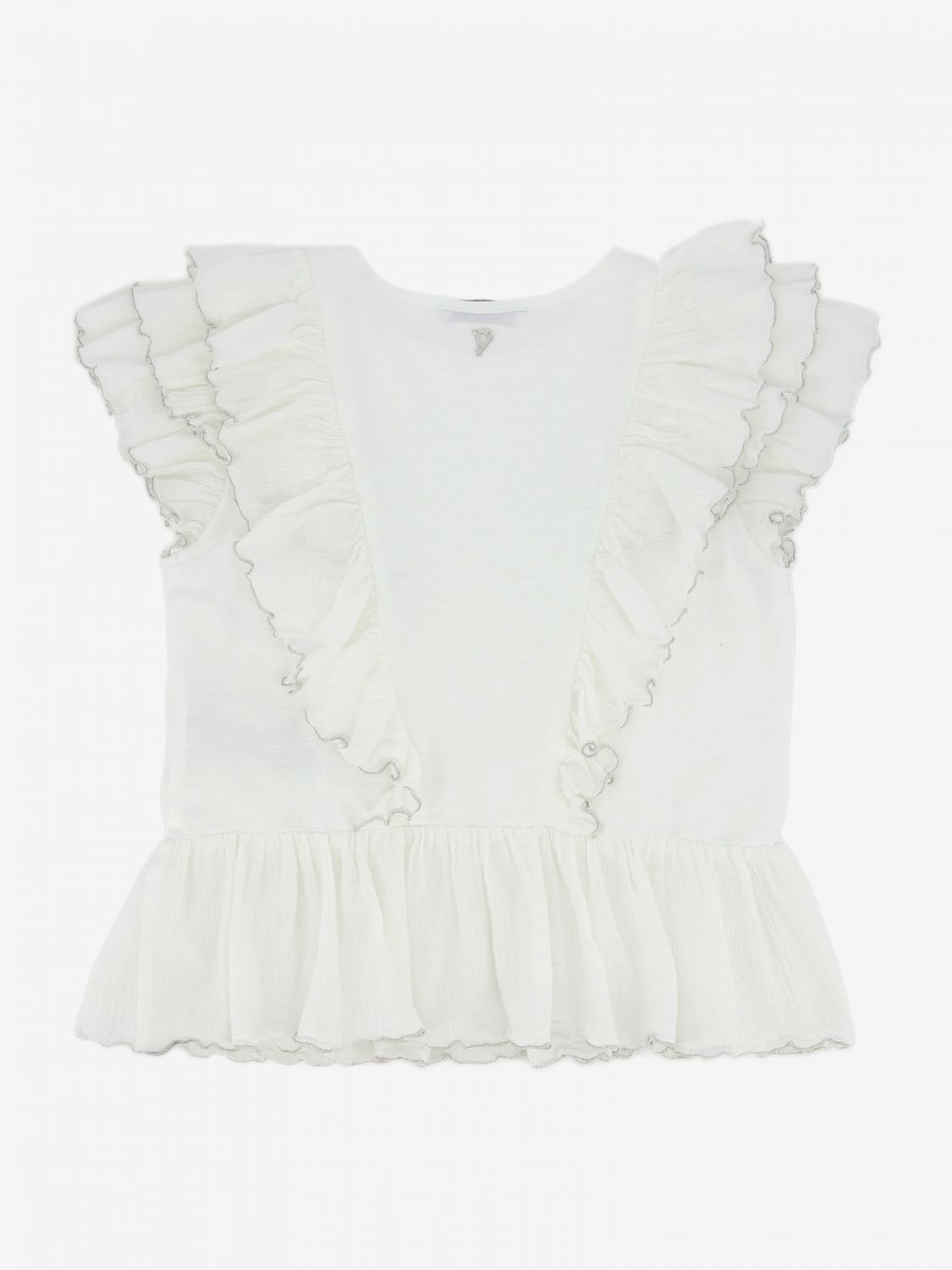 T-shirt Dondup: Top Dondup con rouches bianco 2