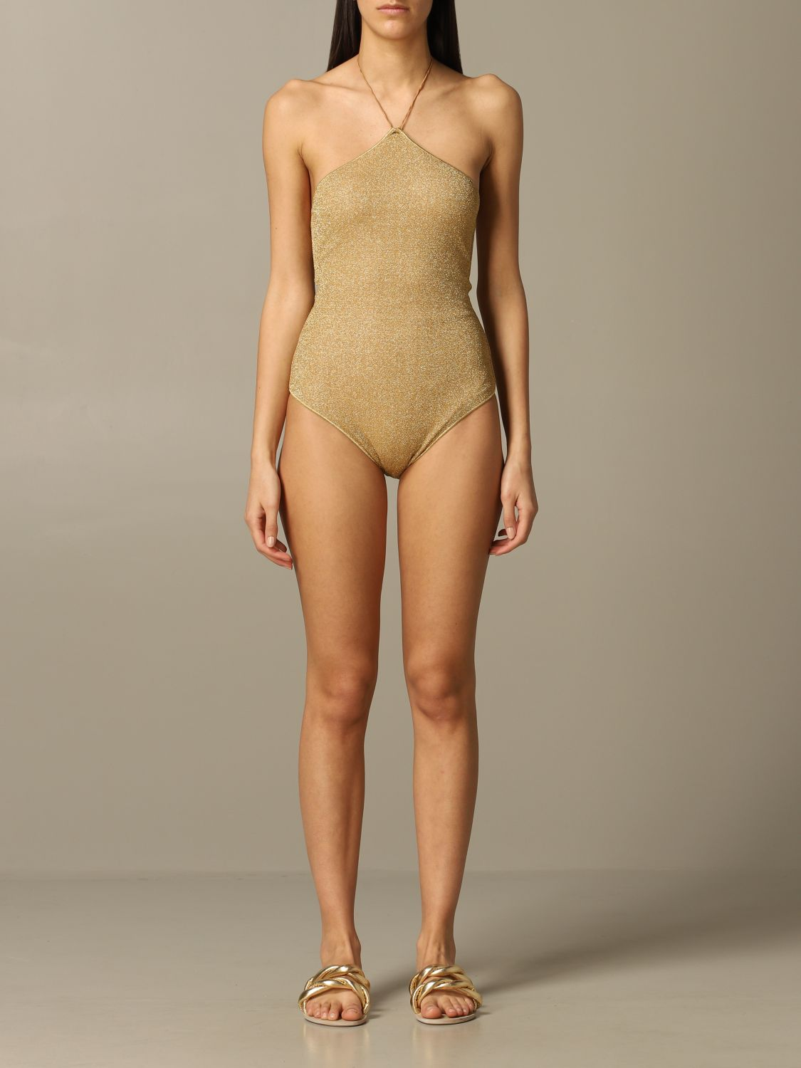 Oseree one-piece swimsuit glitter gold 1