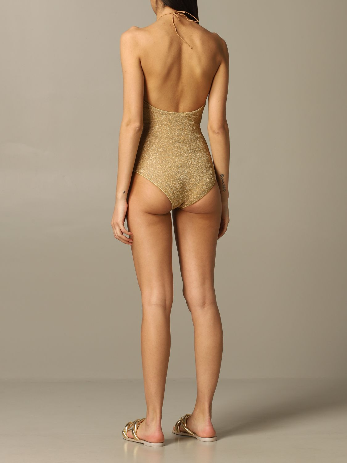 Oseree one-piece swimsuit glitter gold 2