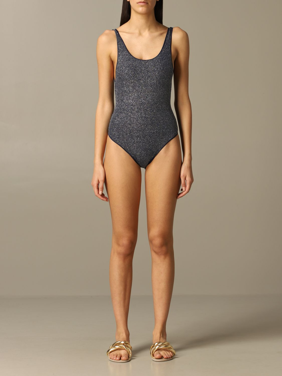 Oseree glitter one piece swimsuit blue 1