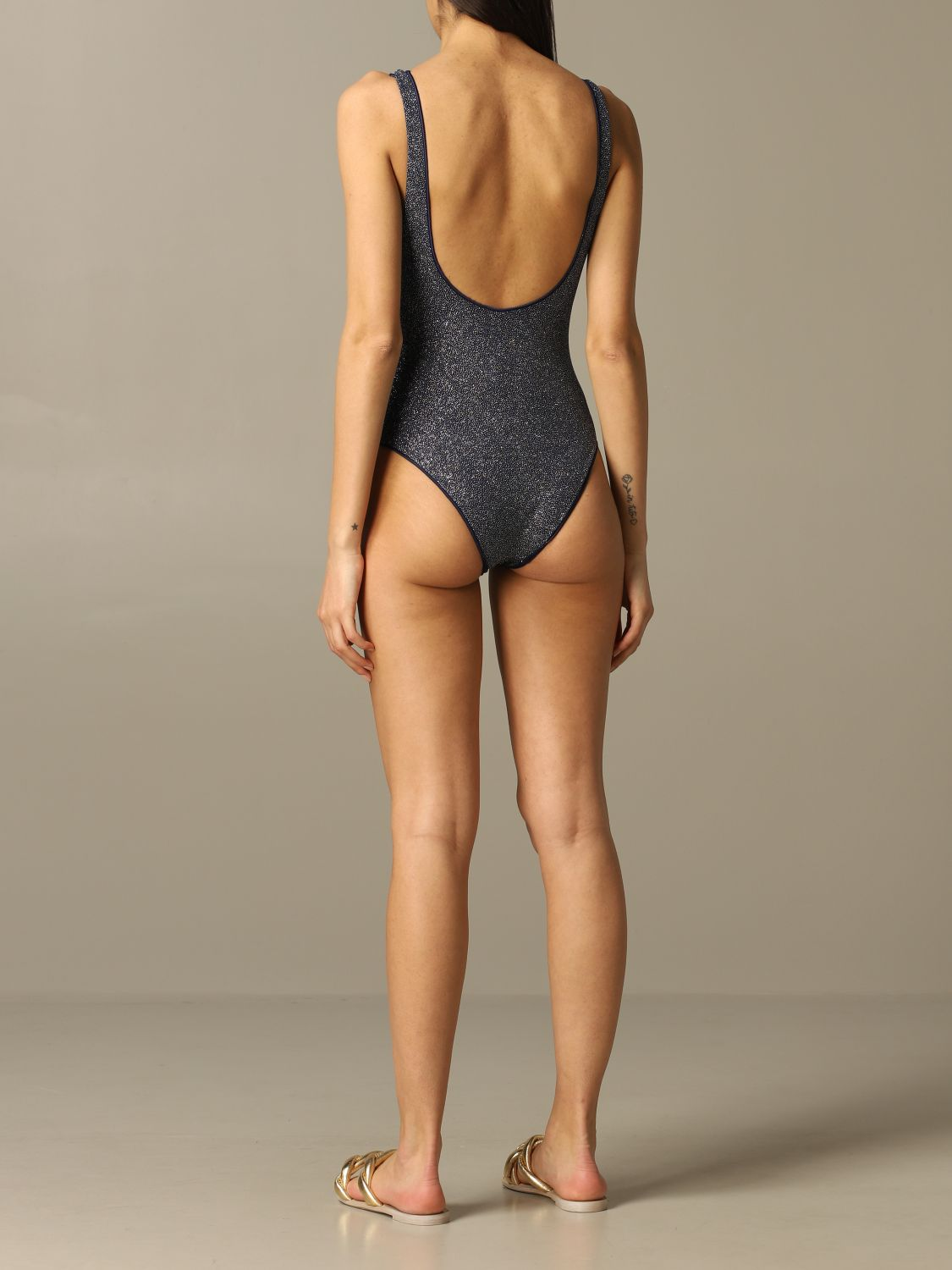 Oseree glitter one piece swimsuit blue 2