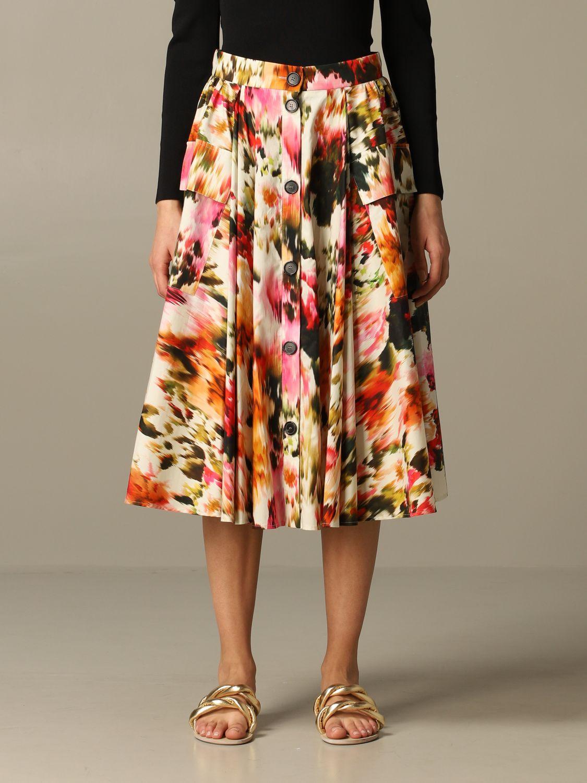Jupe large Msgm à motif floral multicolore 1