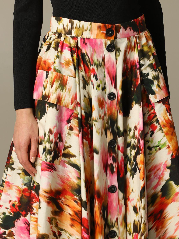Jupe large Msgm à motif floral multicolore 3