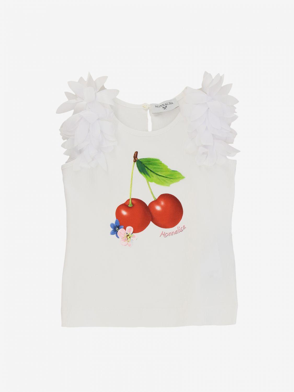 Monnalisa Baby T-Shirt mit Kirschen weiß 1