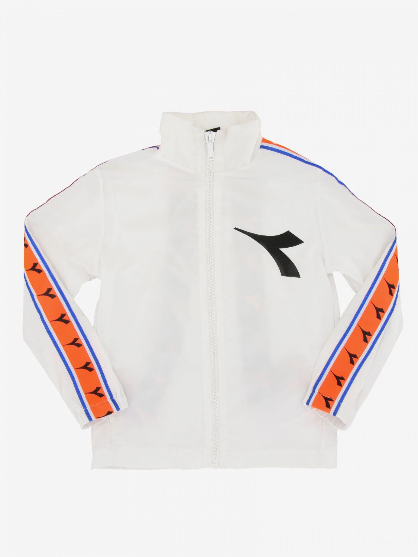 Diadora Sweatshirt mit Reißverschluss und Logo weiß 1