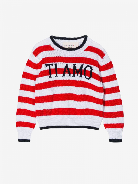 Alberta Ferretti Junior striped sweater with the inscription I love you red 1