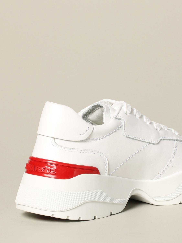 Baskets en cuir Dsquared2 avec logo contrasté blanc 5