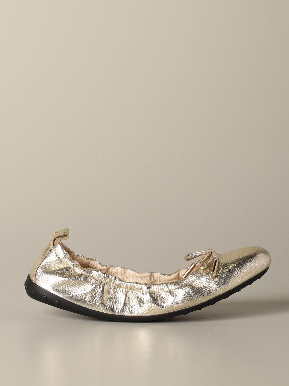 Ballerinas Tods: Tods Ballerina aus laminiertem Leder mit Schleife gold 1
