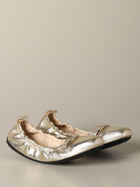 Ballerinas Tods: Tods Ballerina aus laminiertem Leder mit Schleife gold 2