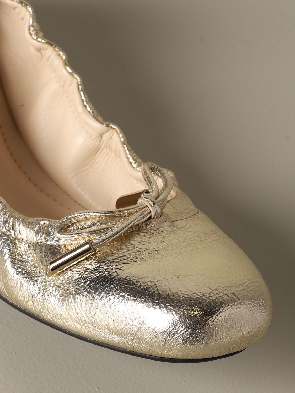 Ballerinas Tods: Tods Ballerina aus laminiertem Leder mit Schleife gold 3