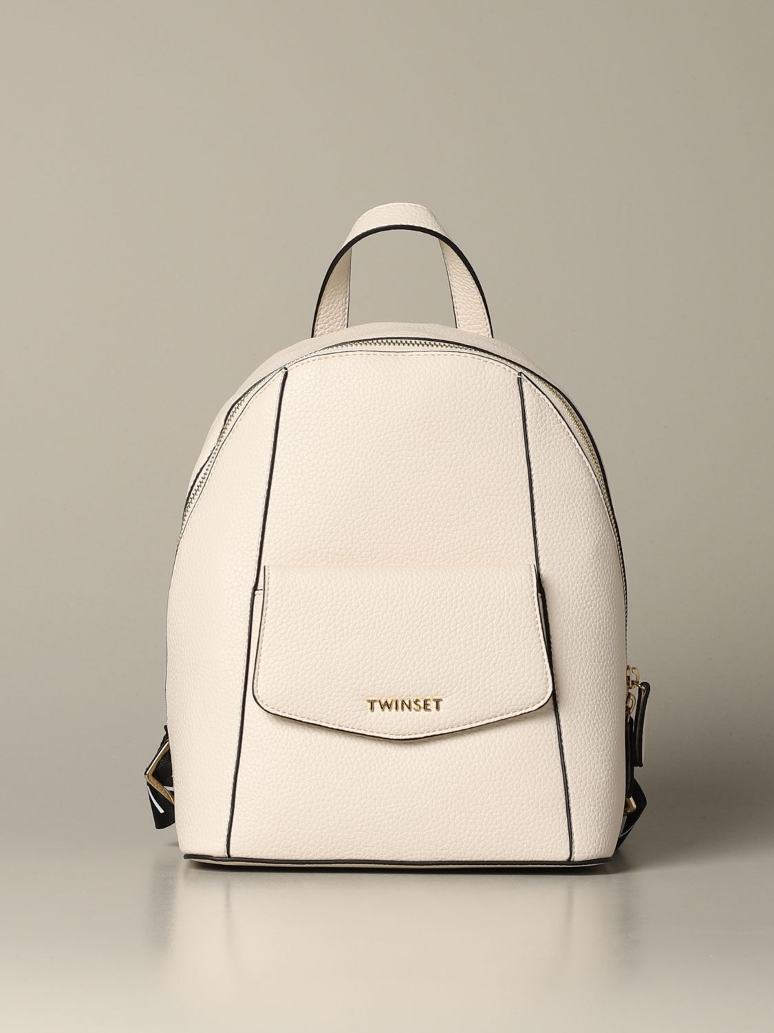 Backpack Twin Set: Twin-set backpack in synthetic leather with logo white 1