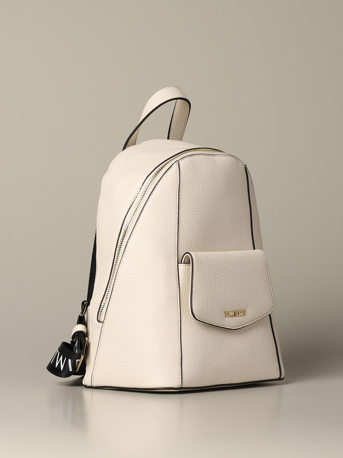 Backpack Twin Set: Twin-set backpack in synthetic leather with logo white 3