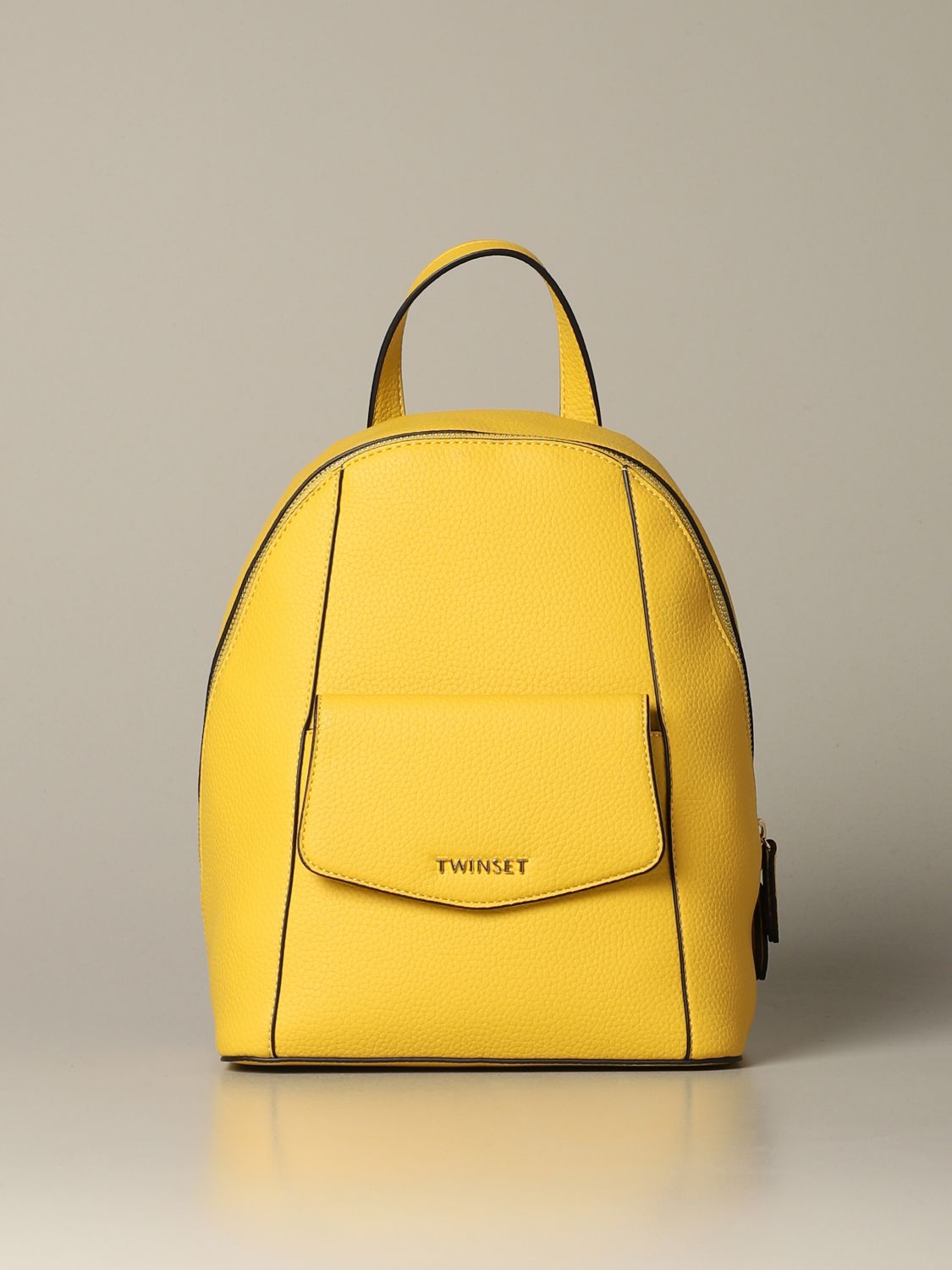 Backpack Twin Set: Twin-set backpack in synthetic leather with logo yellow 1