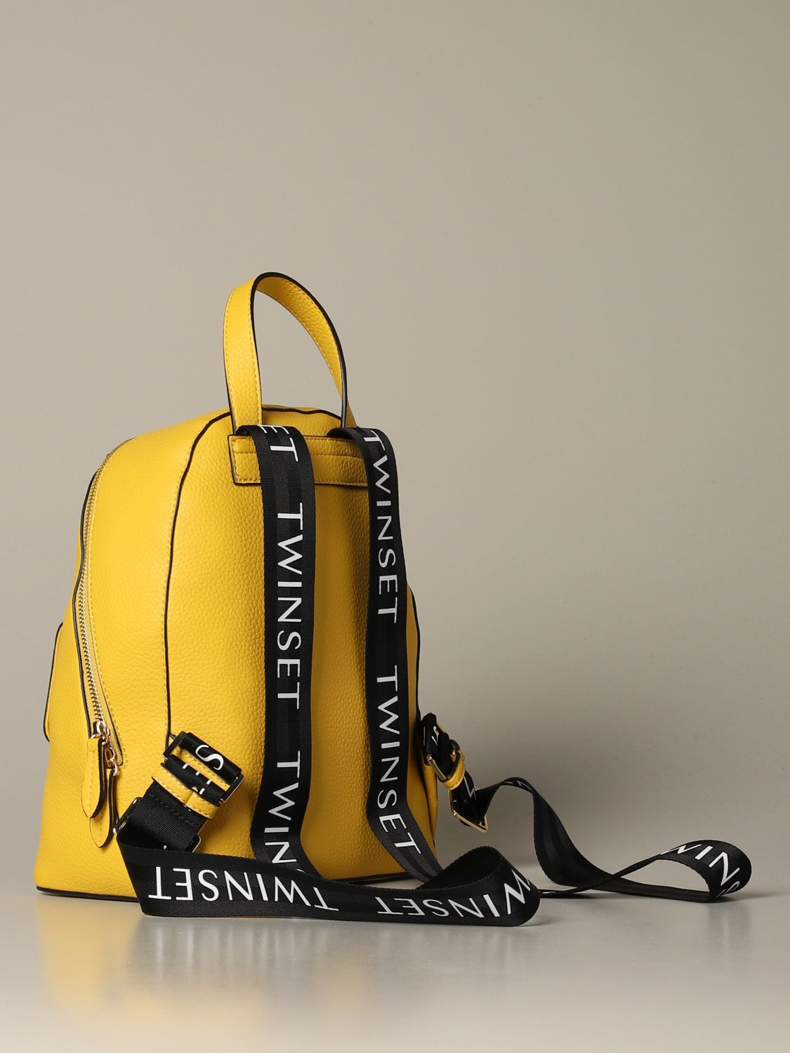 Backpack Twin Set: Twin-set backpack in synthetic leather with logo yellow 2