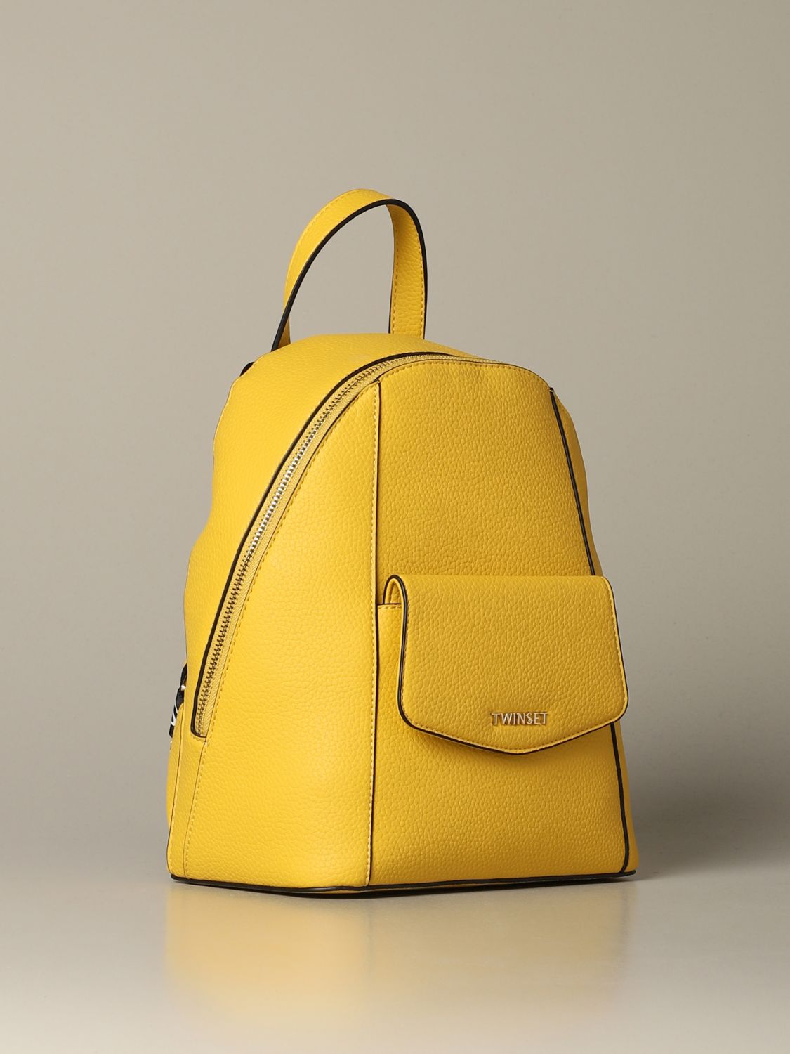 Backpack Twin Set: Twin-set backpack in synthetic leather with logo yellow 3