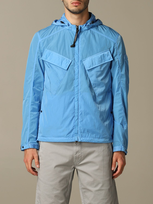 Giacca di nylon C.p. Company con cappuccio azzurro 1