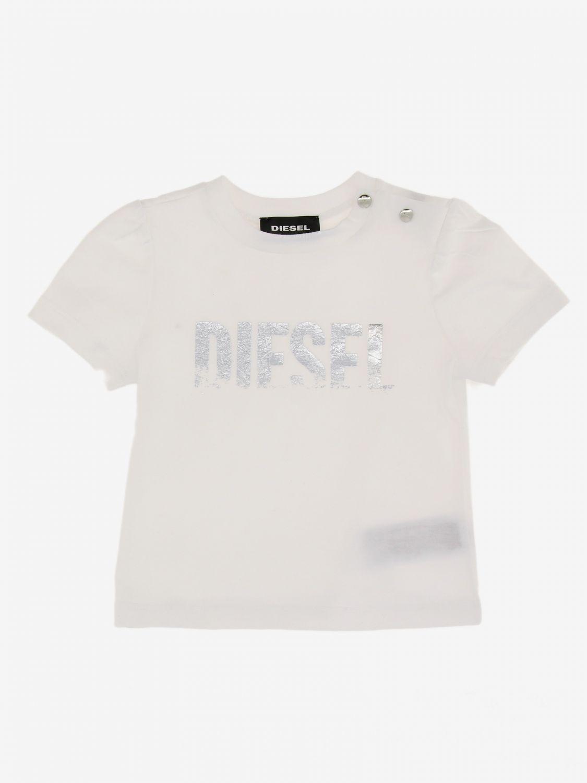 T-shirt Diesel: T-shirt Diesel con logo a contrasto bianco 1