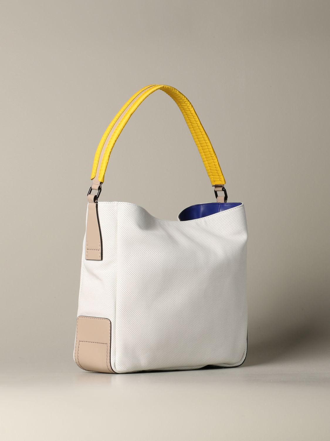 Hogan shoulder bag in micro-dots leather white 2