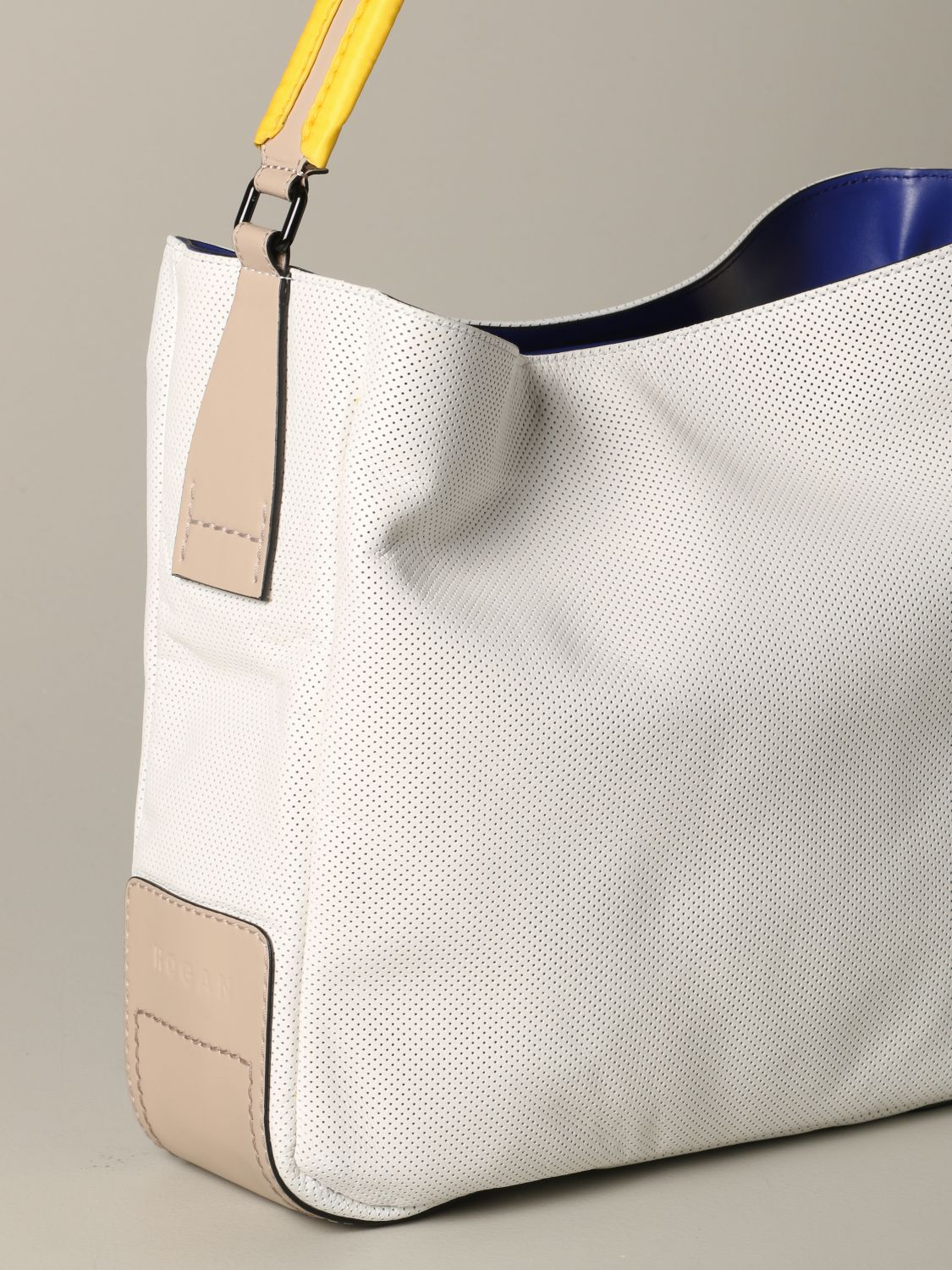 Hogan shoulder bag in micro-dots leather white 3