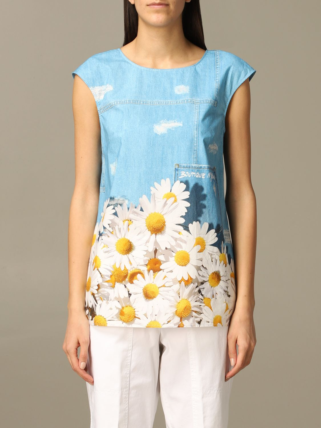 Top Boutique Moschino: Top women Boutique Moschino gnawed blue 1