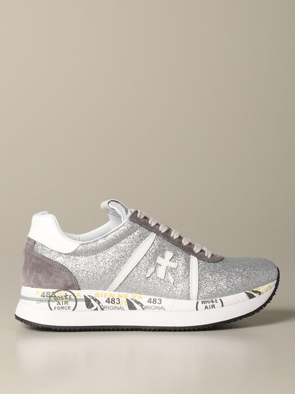 Conny Premiata sneakers in suede and glitter silver 1