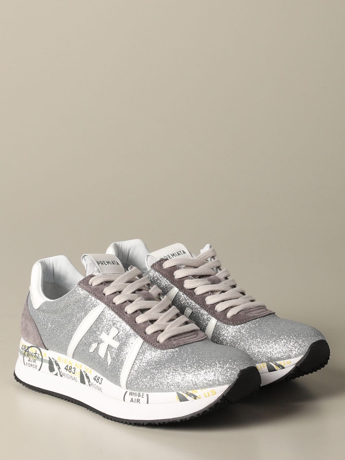 Conny Premiata sneakers in suede and glitter silver 2