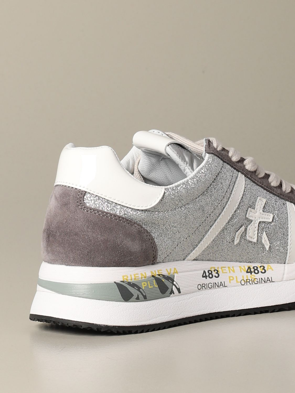 Conny Premiata sneakers in suede and glitter silver 3