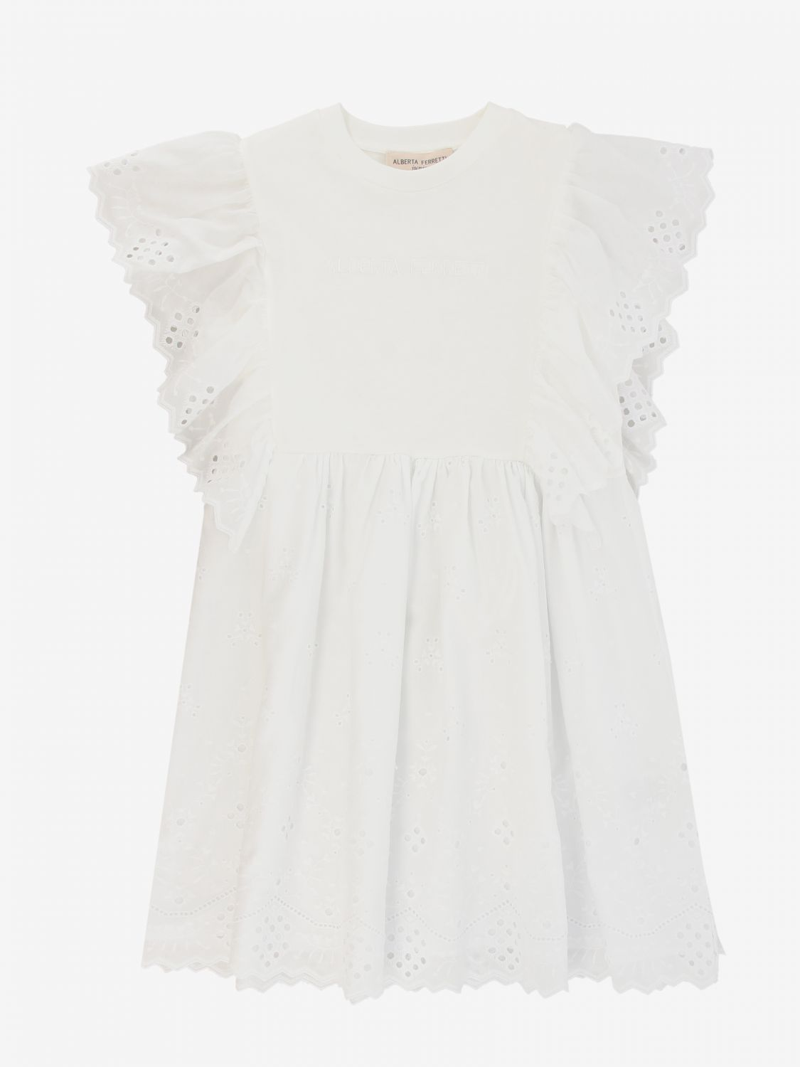 Dress Alberta Ferretti Junior: Alberta Ferretti Junior dress with Sangallo ruffles white 1