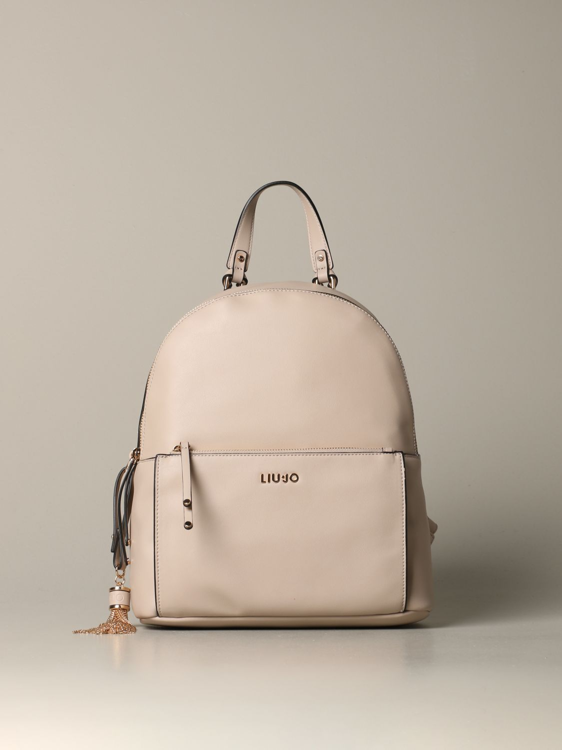 Liu Jo backpack in synthetic leather with logo beige 1