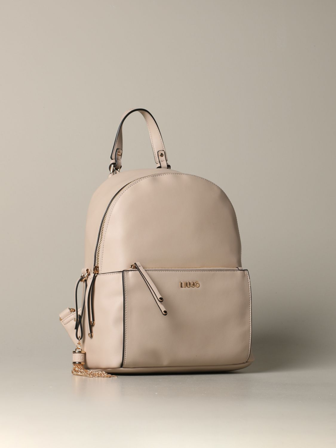 Liu Jo backpack in synthetic leather with logo beige 2
