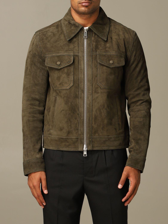 Jacket Ami Alexandre Mattiussi: Ami Alexandre Mattiussi jacket in suede goat leather olive 1