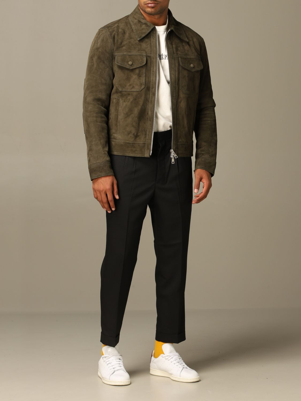 Jacket Ami Alexandre Mattiussi: Ami Alexandre Mattiussi jacket in suede goat leather olive 2