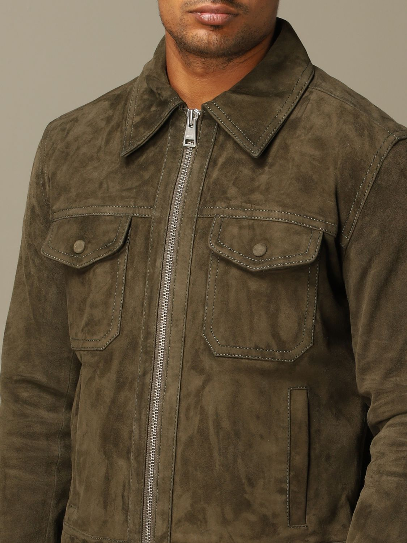 Jacket Ami Alexandre Mattiussi: Ami Alexandre Mattiussi jacket in suede goat leather olive 4