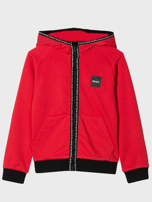 Maglia Dkny: Felpa Dkny con cappuccio e zip rosso 1