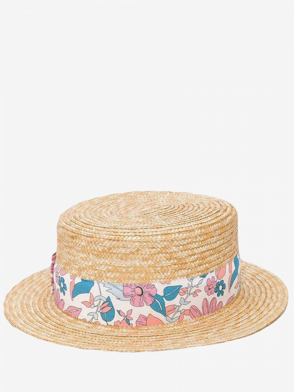 Cappello bimba Chloé: Cappello Chloé in rafia intrecciata con fascia a fantasia fantasia 1