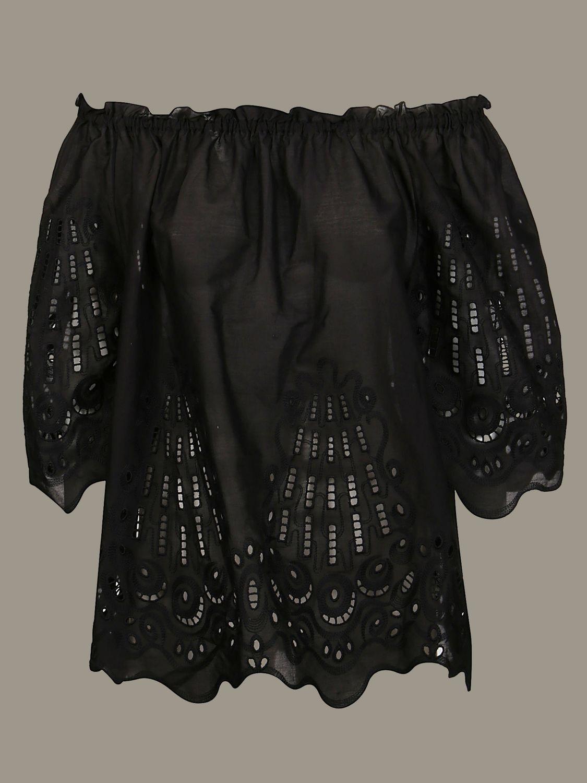 衬衫 Alberta Ferretti: Alberta Ferretti 刺绣上衣 黑色 1