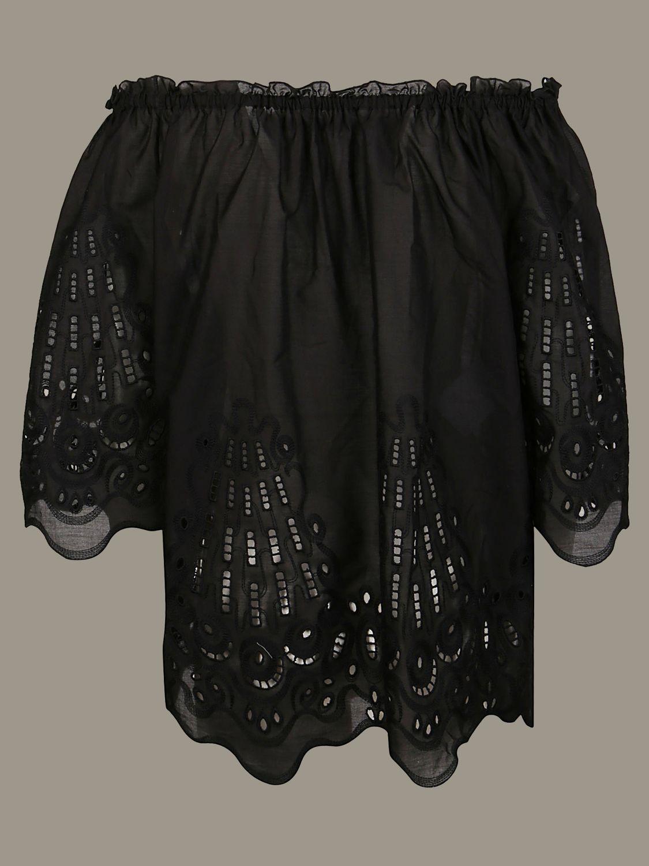 衬衫 Alberta Ferretti: Alberta Ferretti 刺绣上衣 黑色 2