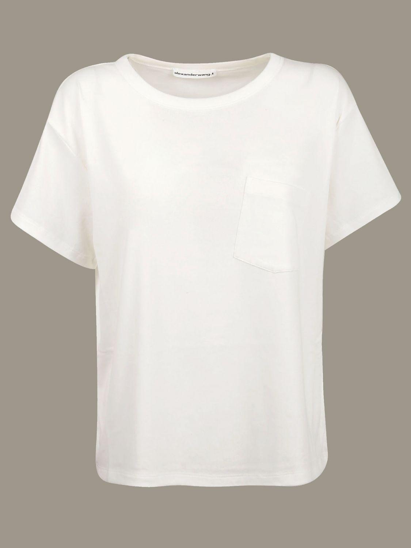 T-shirt Alexander Wang: T-shirt Alexander Wang con tasca a toppa bianco 1